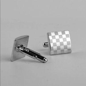 Gentleman Simple Silver Plated Checker Cufflinks
